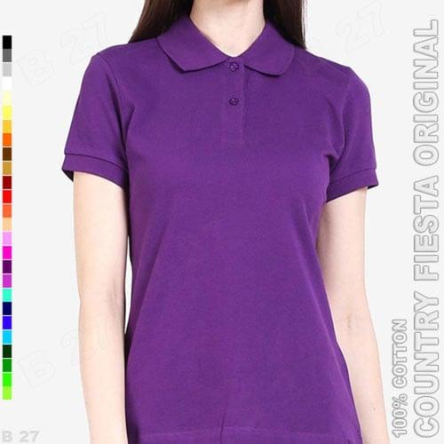 COUNTRY FIESTA Original P3-30 Baju Polo Shirt Cewek Cotton Ungu Tua