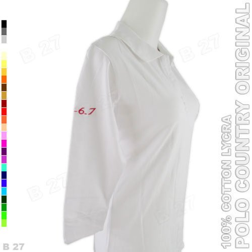 POLO COUNTRY Original C15-13 Polo Shirt Tunik Cotton Lycra Abu Muda