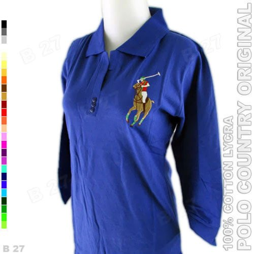 POLO COUNTRY Original C15-35 Kaos Polo Tunik Cotton Lycra Biru Tua