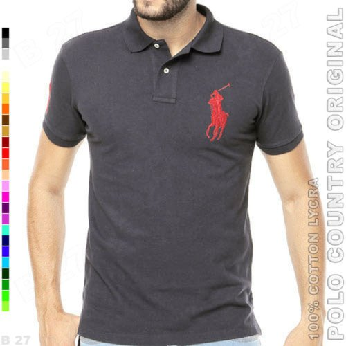 POLO COUNTRY Original C2-12 Polo Shirt Pria Cotton Lycra Abu Tua