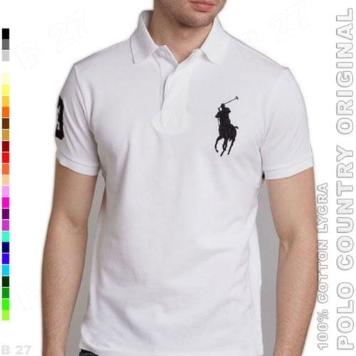 POLO COUNTRY Original C2-14 Kaos Polo Pria Cotton Lycra Putih