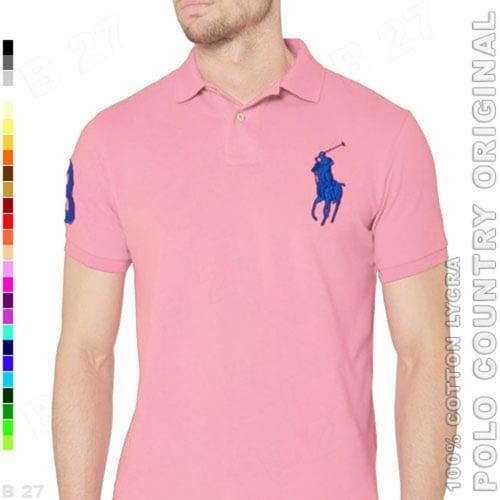 POLO COUNTRY Original C2-28 Polo Shirt Cowok Cotton Lycra Pink