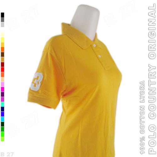 POLO COUNTRY Original C3-18 Polo Shirt Cewek Cotton Lycra Kunyit