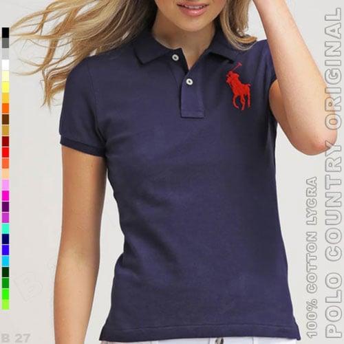 POLO COUNTRY Original C3-34 Kaos Polo Wanita Cotton Lycra Navy