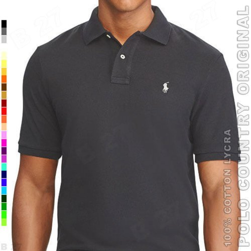 POLO COUNTRY Original C5-12 Polo Shirt Pria Cotton Lycra Abu Tua