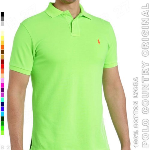 POLO COUNTRY Original C5-42 Kaos Polo Cowo Cotton Lycra Hijau Stabilo