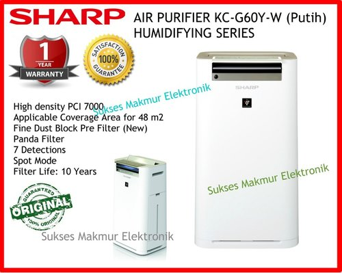 Sharp Air Purifier KC-G60Y-W - Putih with Humidifying, Coverage Area 48m2