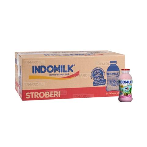 Indomilk Susu Botol Cair Stroberi 190 ml Isi 24 Pcs