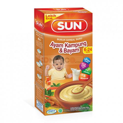SUN Bubur Sereal Susu Rasa Ayam Kampung Bayam Isi 24 pcs