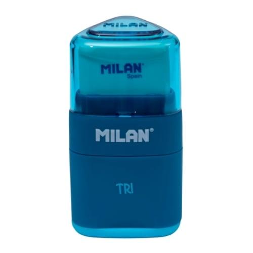 MILAN Pencil Sharpener and Eraser TRI 47001 Blue