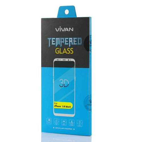 VIVAN for iPhone 7/8 3D Tempered Glass Phone Screen Protector Black