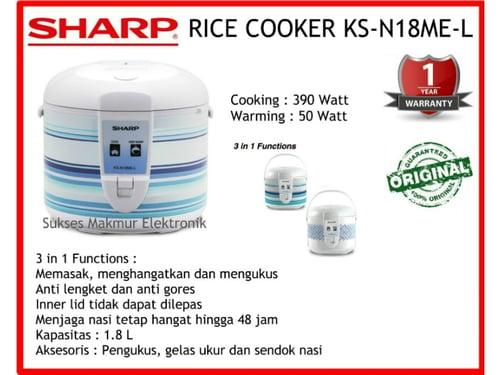 Sharp Rice Cooker KS-N18ME-L, Cap. 1.8 Liter, Cook 390 Watt