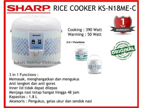Sharp Rice Cooker KS-N18ME-C, Cap. 1.8 Liter, Cook 390 Watt