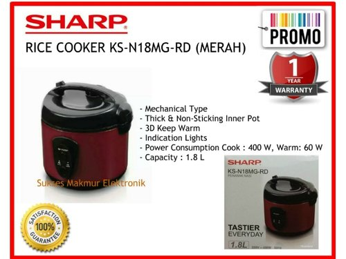 Sharp Rice Cooker KS-N18MG-RD (Red) Cap. 1.8 Liter 3in1, 400 Watt