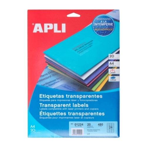 APLI Label Polyester Transparent 70 X 37MM 01224 480 unit