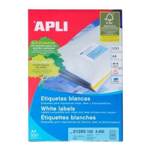 APLI Label White Paper 48.5 X 25.4MM 01285 4400 unit