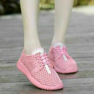 FASHION Sepatu Kets Jaring Pink