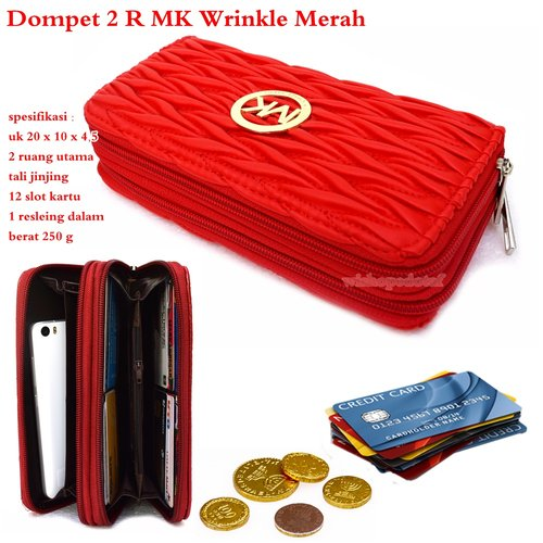 MICHAEL KORS Dompet 2 Ruang Wrinkle Merah