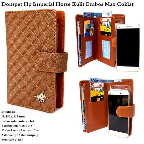IMPERIAL HORSE Dompet Kulit HP Embos Max Coklat
