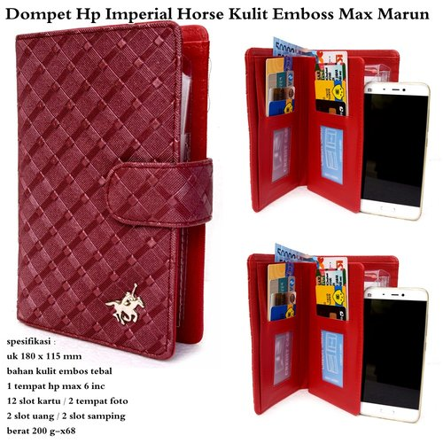 IMPERIAL HORSE Dompet Kulit HP Embos Max Maroon