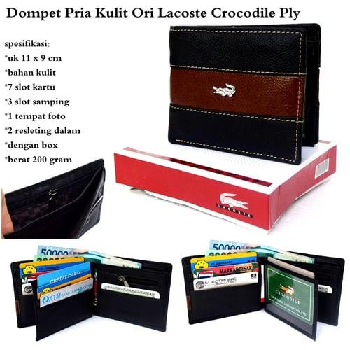 Dompet Pria / cowok Kulit Ori Lacost Crocodil -  Black PLY