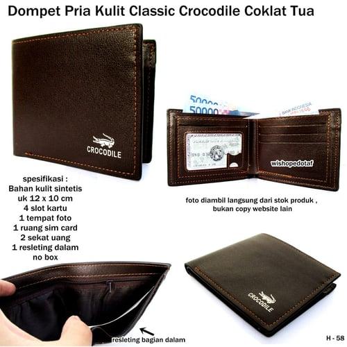 CROCODILE Dompet Pria Kulit Classic Coklat Tua