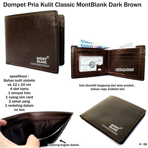MONT BLANC Dompet Pria Classic Kulit Dark Brown
