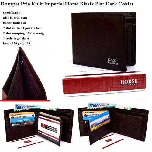 IMPERIAL HORSE Dompet Pria Kulit Klasik Plat Dark Coklat