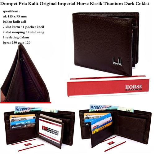 IMPERIAL HORSE Dompet Pria Kulit Klasik Titanium Dark Coklat