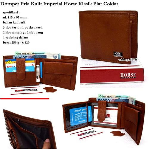 IMPERIAL HORSE Dompet Pria Kulit Klasik Plat Coklat