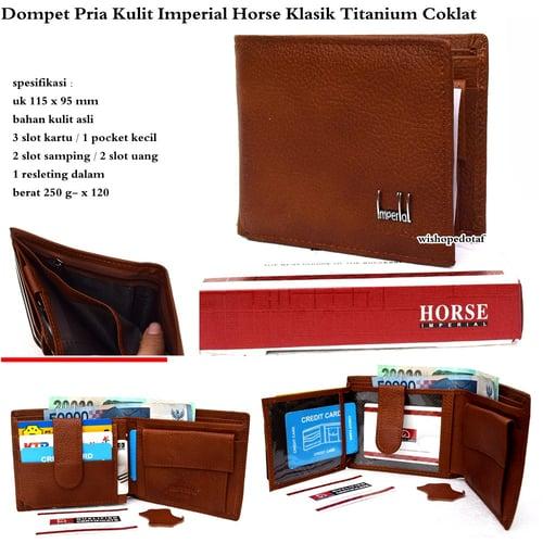 IMPERIAL HORSE Dompet Pria Kulit Klasik Titanium Coklat