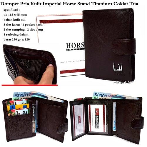 IMPERIAL HORSE Dompet Pria Kulit Stand Titanium Coklat Tua