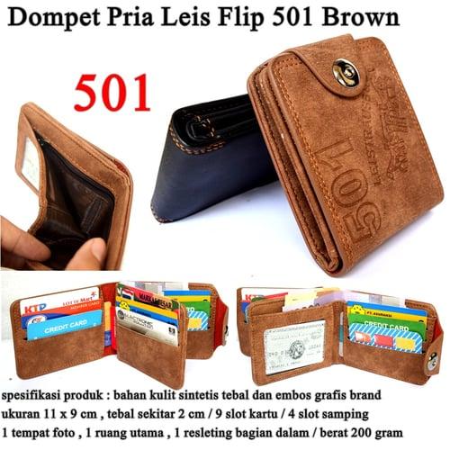 LEVIS Dompet Pria Leather Flip 501 Brown
