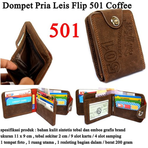 LEVIS Dompet Pria Leather Flip 501 Coffee