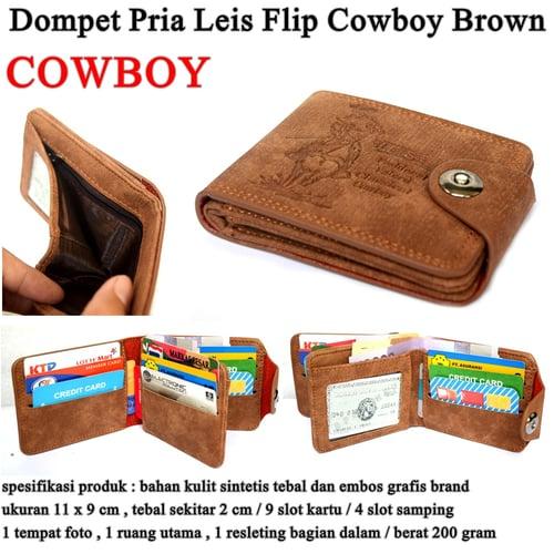 LEVIS Dompet Pria Leather Flip Cowboy Brown