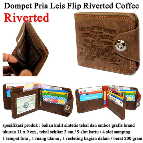 LEVIS Dompet Pria Leather Flip Riverted coffee