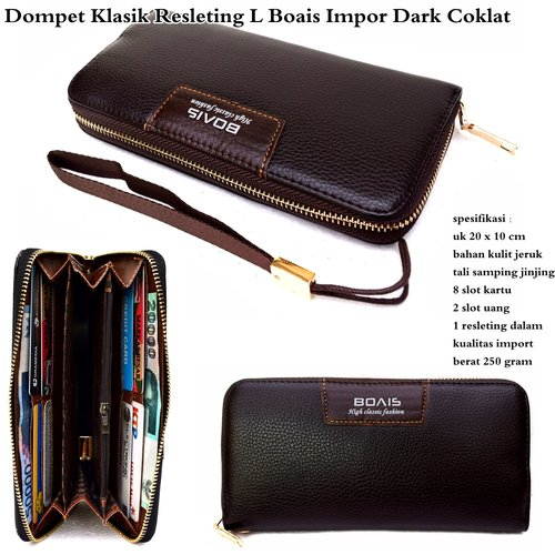 BOAIS Dompet Klasik Resleting Impor Dark Cokelat