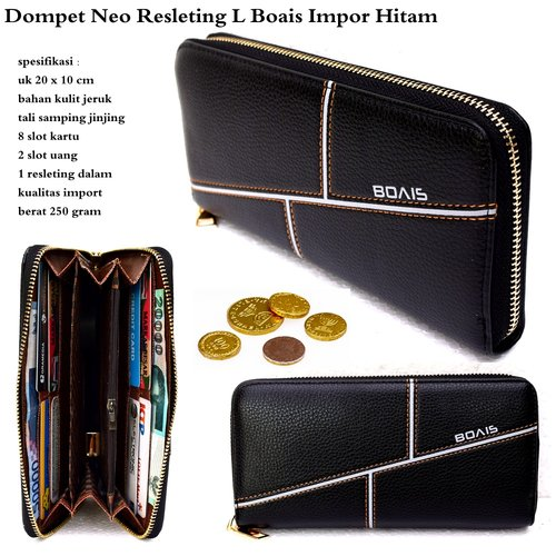 BOAIS Dompet Neo Resleting Style L Impor Hitam