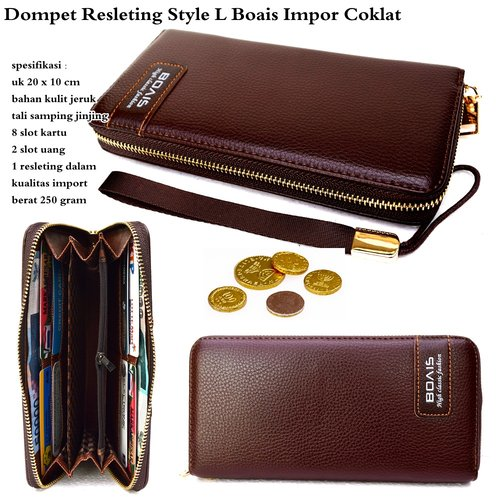 BOAIS Dompet Neo Resleting Style L Impor Cokelat
