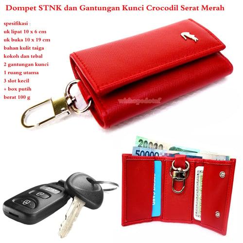 CROCODILE Dompet STNK dan Gantungan Kunci Merah