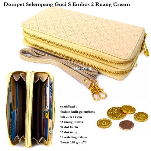 Dompet wanita kulit selempang GC – s emboss 2 ruang  CREAM