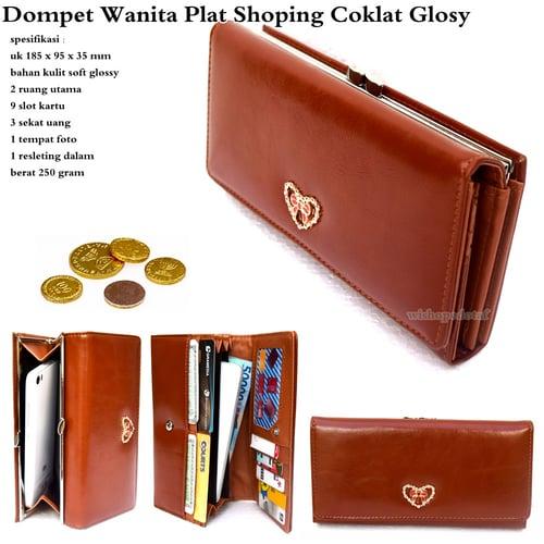 Dompet Wanita Plat Shoping Glossy Cokelat