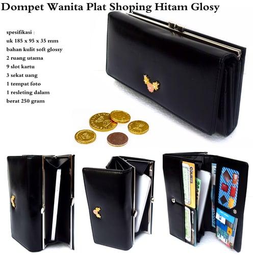 Dompet Wanita Plat Shoping Glossy Hitam