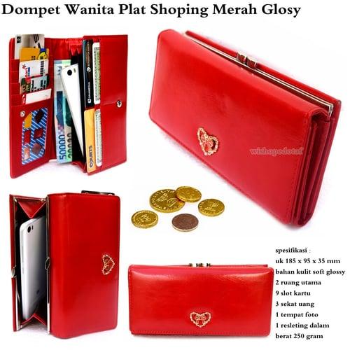 Dompet Wanita Plat Shoping Glossy Merah