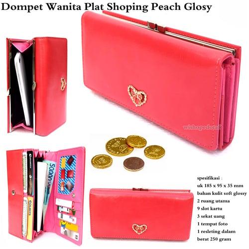Dompet Wanita Plat Shoping Glossy Peach