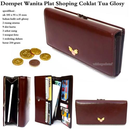 Dompet Wanita Plat Shoping Glossy Cokelat Tua