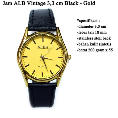 ALBA Jam Tangan Vintage 3.3cm Black Gold