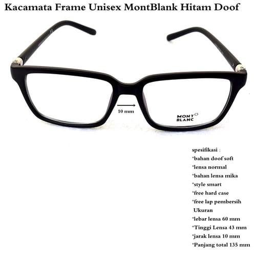 MONT BLANC Kacamata Frame Unisex Hitam Doff
