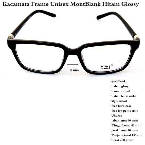 MONT BLANC Kacamata Frame Unisex Hitam Glossy