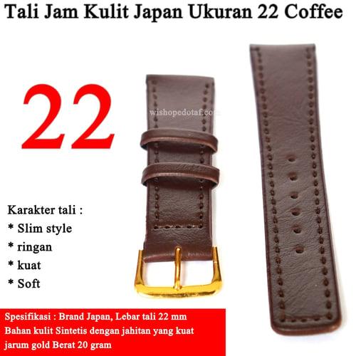 Tali Jam Tangan Kulit Ukuran 22mm Coffee